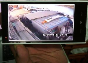 スマホによる監視カメラの映像